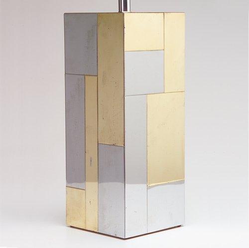 "1003: PAUL EVANS/DIRECTIONAL ""Cityscape"" table lamp bas"