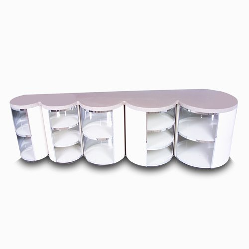 1006: PAUL EVANS Large scalloped storage unit with pink
