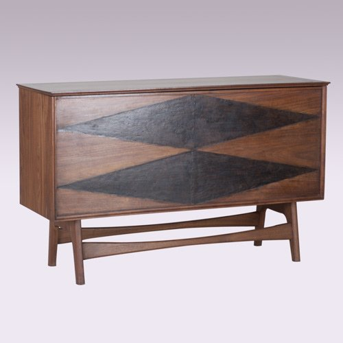 1013: VAL ROBBINS Parquetry stereo cabinet on trestle b