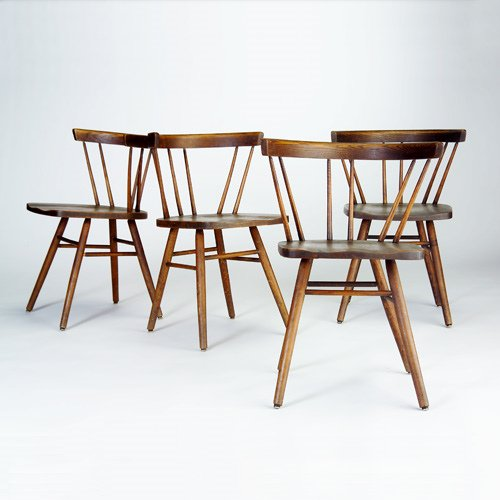 1014: WHITNEY Set of four dining chairs, each with curv