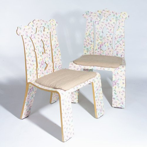 "1018: ROBERT VENTURI/KNOLL Pair of ""Chippendale"" chairs"