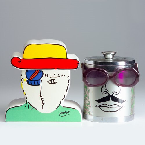 1326: PETER MAX Two covered vessels, one made of china