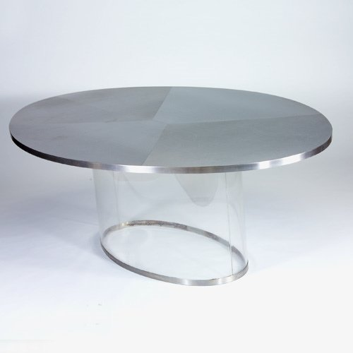 1491: MODERN Dining table with oval steel-clad top