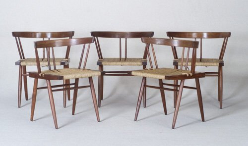 18: GEORGE NAKASHIMA Five walnut Grass seat c