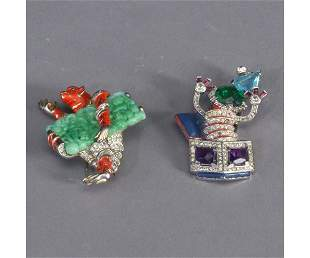 1101: Two TRIFARI figural pins: one jack-in-t
