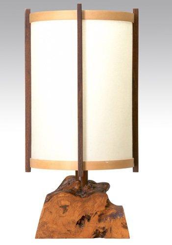 2: GEORGE NAKASHIMA Single-socket desk lamp on burl woo