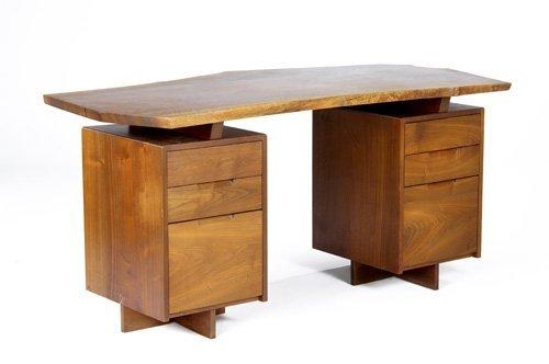 6: GEORGE NAKASHIMA Walnut double pedestal desk with si