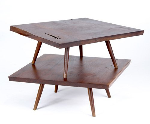 12: GEORGE NAKASHIMA Pair of walnut side tables, one to
