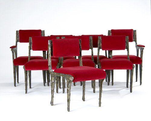 PAUL EVANS Set of eight Sculpted Bronze dining chai