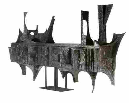 61: PAUL EVANS Custom-designed wall-hanging cabinet in