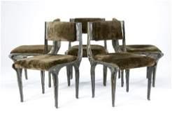 68: PAUL EVANS Set of five Sculpted Bronze armchairs wi