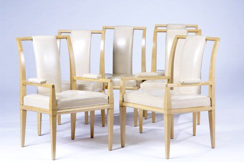 TOMMI PARZINGER Set of six maple dining chairs, tw