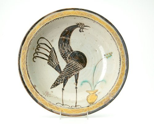 214: WILHELM HUNT DIEDERICH Large faience bowl painted