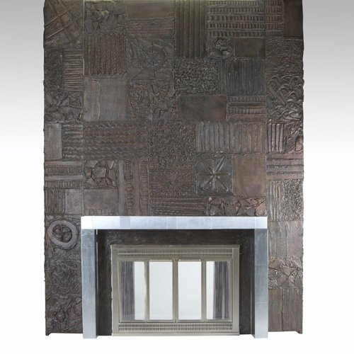 1015: PAUL EVANS Sculpted Bronze fireplace surround wit