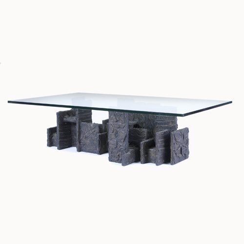 1021: PAUL EVANS Sculpted Bronze coffee table with plat