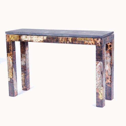 1022: PAUL EVANS Parson's table with slate top and rive