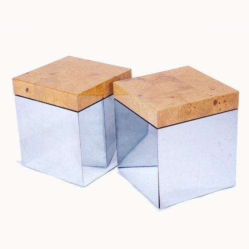 1024: PAUL EVANS Pair of cube tables with burlwood vene