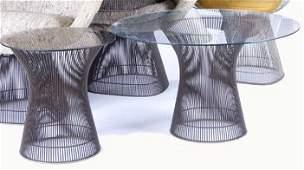 1141B: WARREN PLATNER/KNOLL Two glass-topped side table