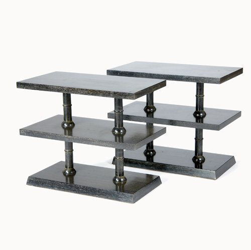 1254: FRENCH Pair of limed wood double-tier side tables