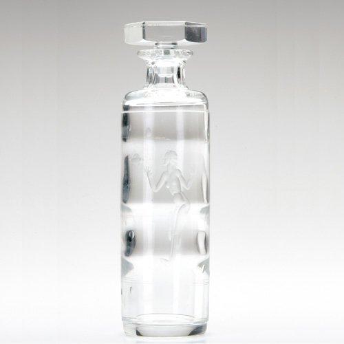 1312: T. GRONQVIST/KOSTA Clear glass stoppered bottle c