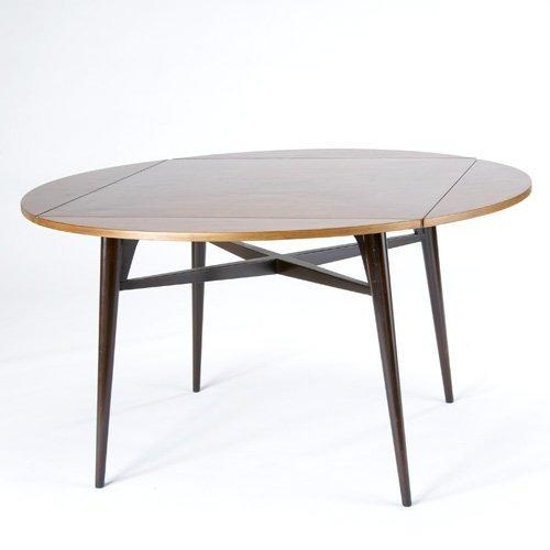 1424: EDWARD WORMLEY/DUNBAR Fold-out dining table. Dunb