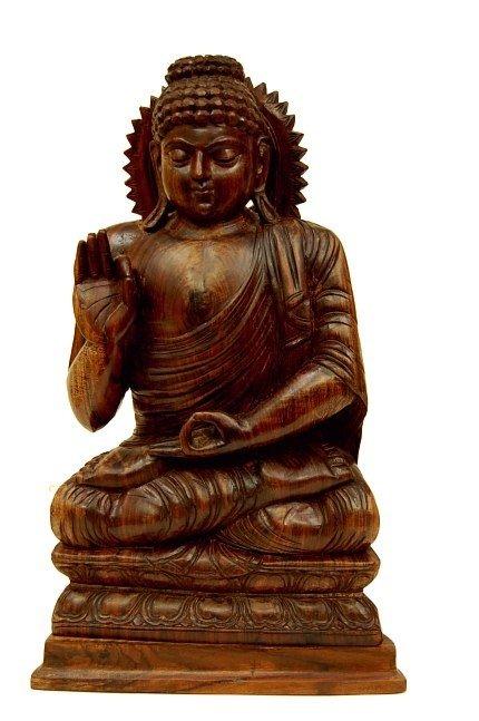 24: Vintage hand carved teakwood Buddha