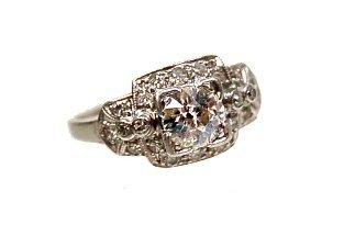 101: Antique platinum diamond ring