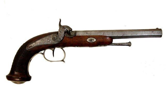 107: Antique ELG percussion dueling pistol .50 caliber