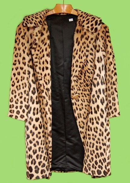 162 Rare Genuine Knee Length Leopard Fur Coat
