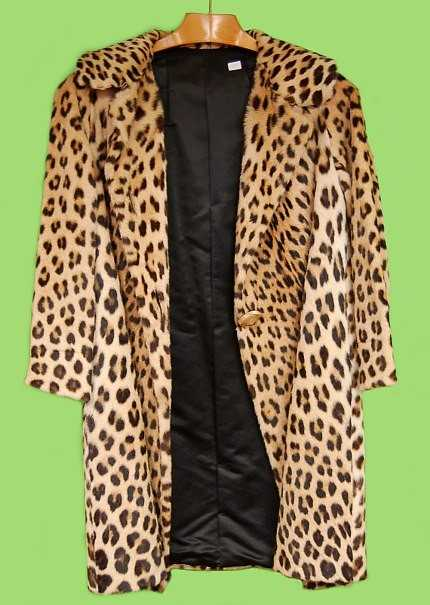 162 Rare Genuine Knee Length Leopard Fur Coat