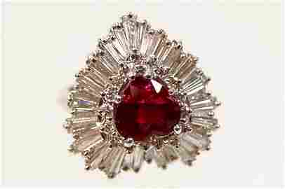121: Spectacular platinum ruby diamond ring