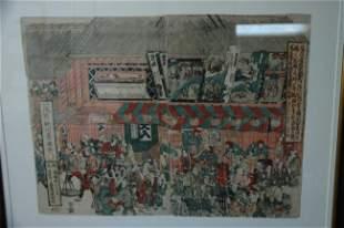 Utagawa Toyokuni hand colored woodblock print