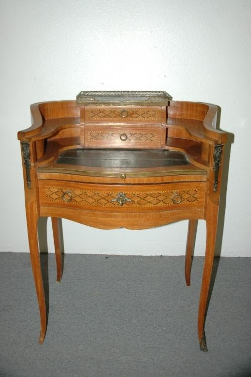 15: Antique Marquetry Inlay Parlor Writing Desk