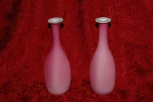 Pair of Cased Pink Satin Glass Bud Vases