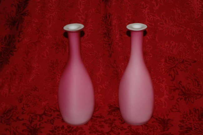 4: Pair of Cased Pink Satin Glass Bud Vases