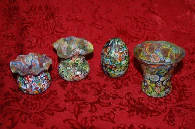 5: Set of 4 Murano Millefiori Art Glass Pieces