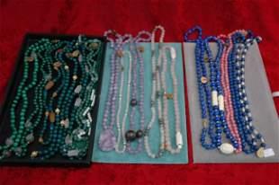 Lot of 19 Semi Precious Bead Necklaces w 14k gold