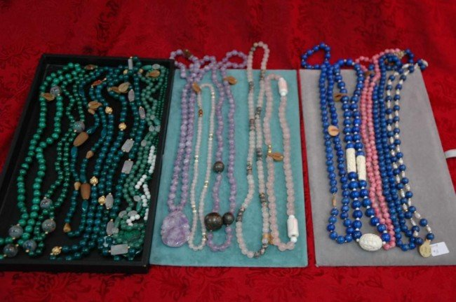 21: Lot of 19 Semi Precious Bead Necklaces w 14k gold