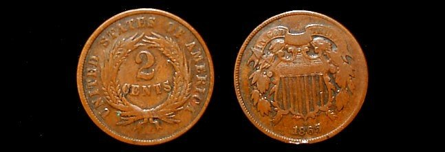 1: 1865 two cent piece