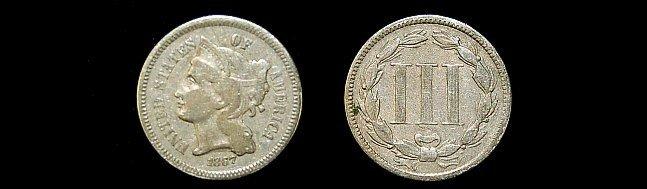 3: 1873 three cent nickel piece
