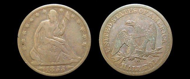 4: 1855 Seated Liberty half dollar