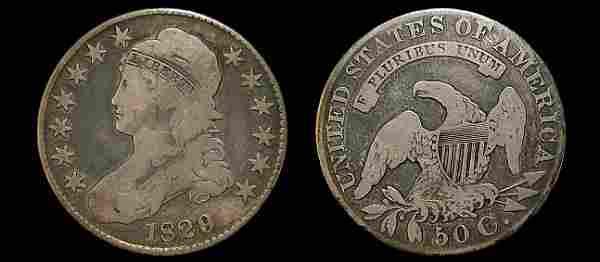 1829 capped bust half dollar