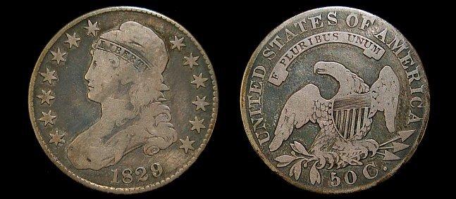 5: 1829 capped bust half dollar