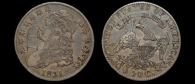 7: 1831 capped bust half dollar