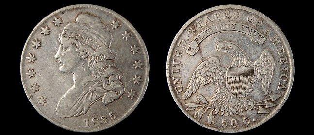 8: 1835 capped bust half dollar