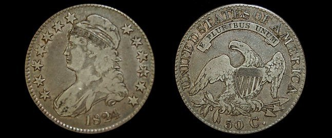 13: 1824 capped bust half dollar
