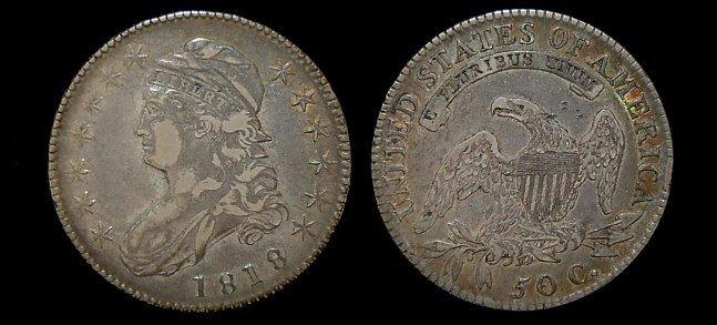 16: 1818 capped bust half dollar