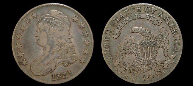 18: 1831 capped bust half dollar