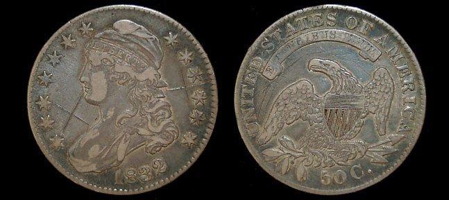 22: 1832 capped bust half dollar