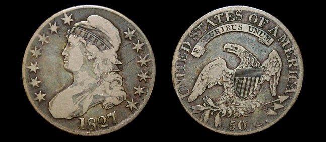 23: 1827 US capped bust half dollar